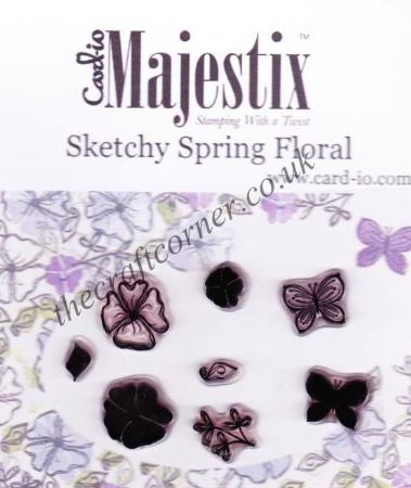 Sketchy Spring Floral Flower & Butterfly 8 Clear Rubber Stamps by Card-io
